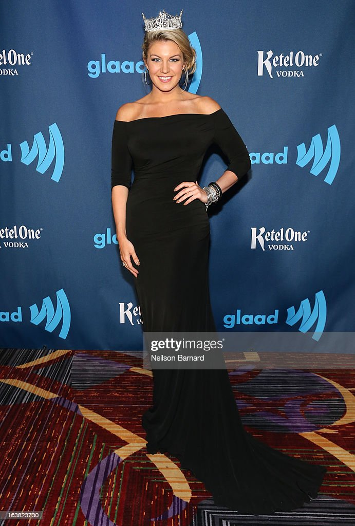 Miss America 2013 Mallory Hagan attends the Ketel One VIP Red Carpet Suite at the 24th Annual GLAAD Media Awards at the Marriott Marquis on March 16, 2013 in New York.