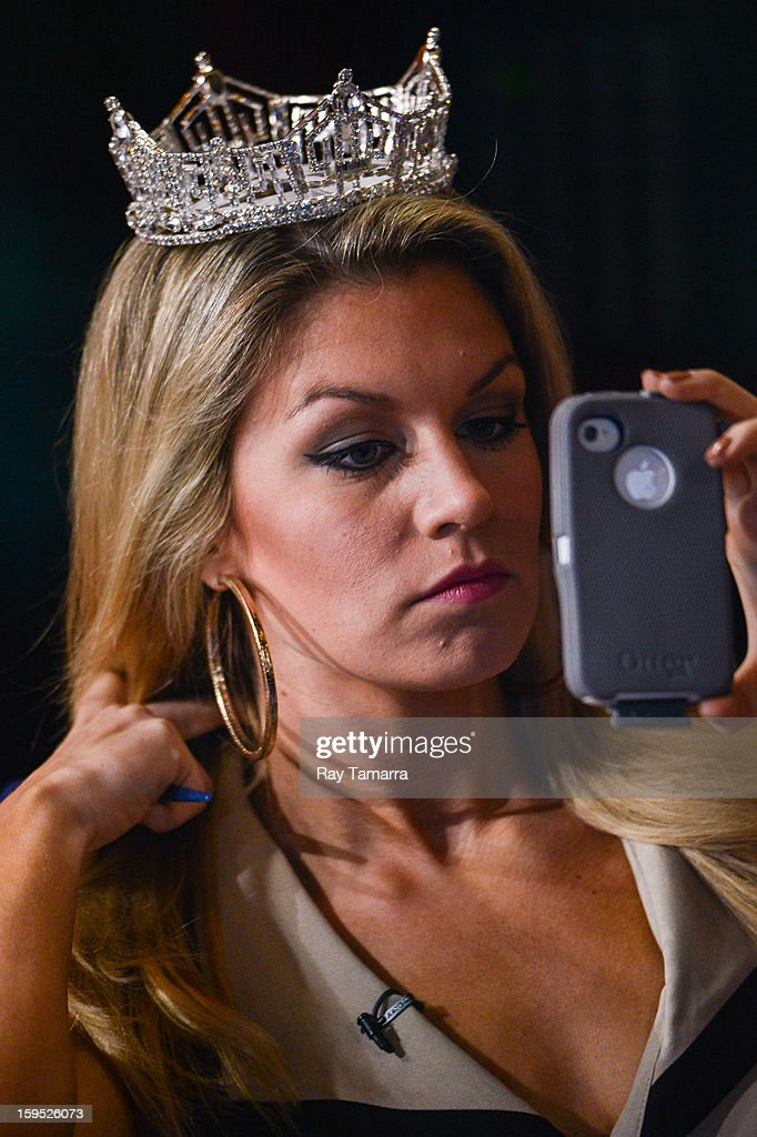 Miss America 2013 Mallory Hagan preps for her interview at 'Good Morning America' at the ABC Times Squrare Studios on January 14, 2013 in New York City.