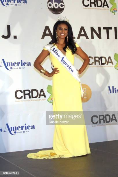 Miss America 2014 contestant Miss New York Nina Davuluri at a Press Conference after she wins the 2014 Miss America Competition at Boardwalk Hall...