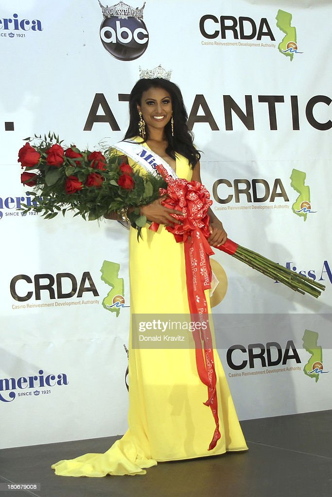 Miss America 2014 contestant Miss New York <a gi-track='captionPersonalityLinkClicked' href=/galleries/search?phrase=Nina+Davuluri&family=editorial&specificpeople=11331921 ng-click='$event.stopPropagation()'>Nina Davuluri</a> at a Press Conference after she wins the 2014 Miss America Competition at Boardwalk Hall Arena on September 15, 2013 in Atlantic City, New Jersey.