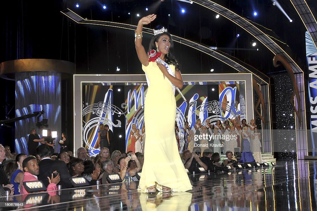 Miss America 2014 contestant Miss New York <a gi-track='captionPersonalityLinkClicked' href=/galleries/search?phrase=Nina+Davuluri&family=editorial&specificpeople=11331921 ng-click='$event.stopPropagation()'>Nina Davuluri</a> wins the 2014 Miss America Competition at Boardwalk Hall Arena on September 15, 2013 in Atlantic City, New Jersey.