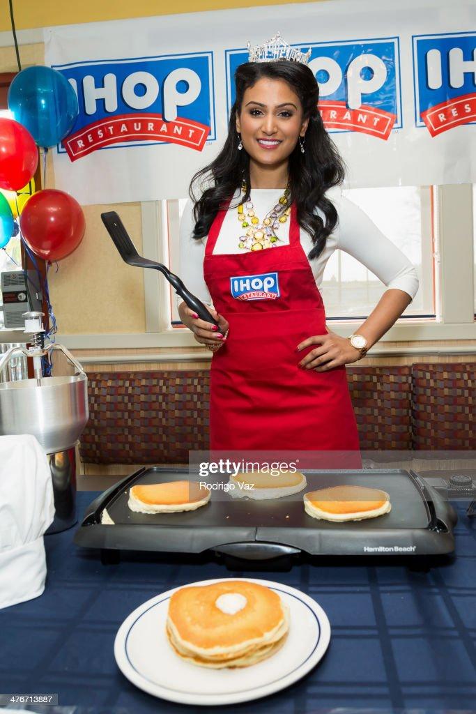 Miss America 2014 Nina Davuluri Celebrates National Pancake Day