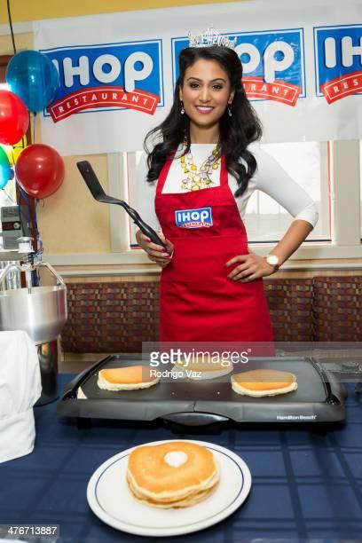 Miss America 2014 Nina Davuluri celebrates National Pancake Day on March 4 2014 in Los Angeles California