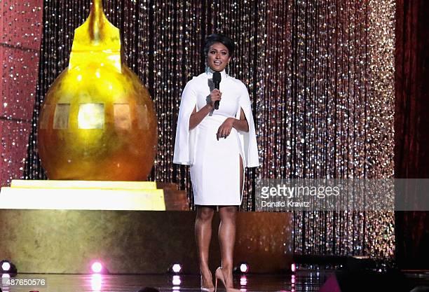 Miss America 2014 Nina Davuluri speaks at the Thursday Night Preliminaries 2016 Miss America Competition at Atlantic City Boardwalk Hall on September...