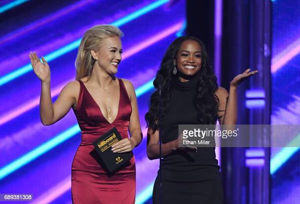 Miss America 2017 Savvy Shields and television personality Rachel Lindsay present an award during the 2017 Billboard Music Awards at TMobile Arena on...
