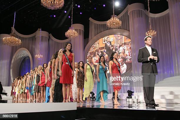 Miss America Contestants take the stage behind host James Denton as the the 2006 Miss America Pageant at the Aladdin Theatre for the Performing Arts...