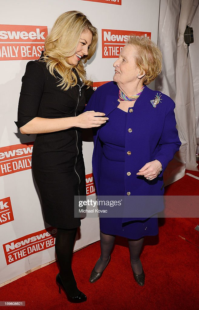Miss America Mallory Hagan (L) and Madeleine Albright attend The Daily Beast Bi-Partisan Inauguration Brunch at Cafe Milano on January 20, 2013 in Washington, DC.