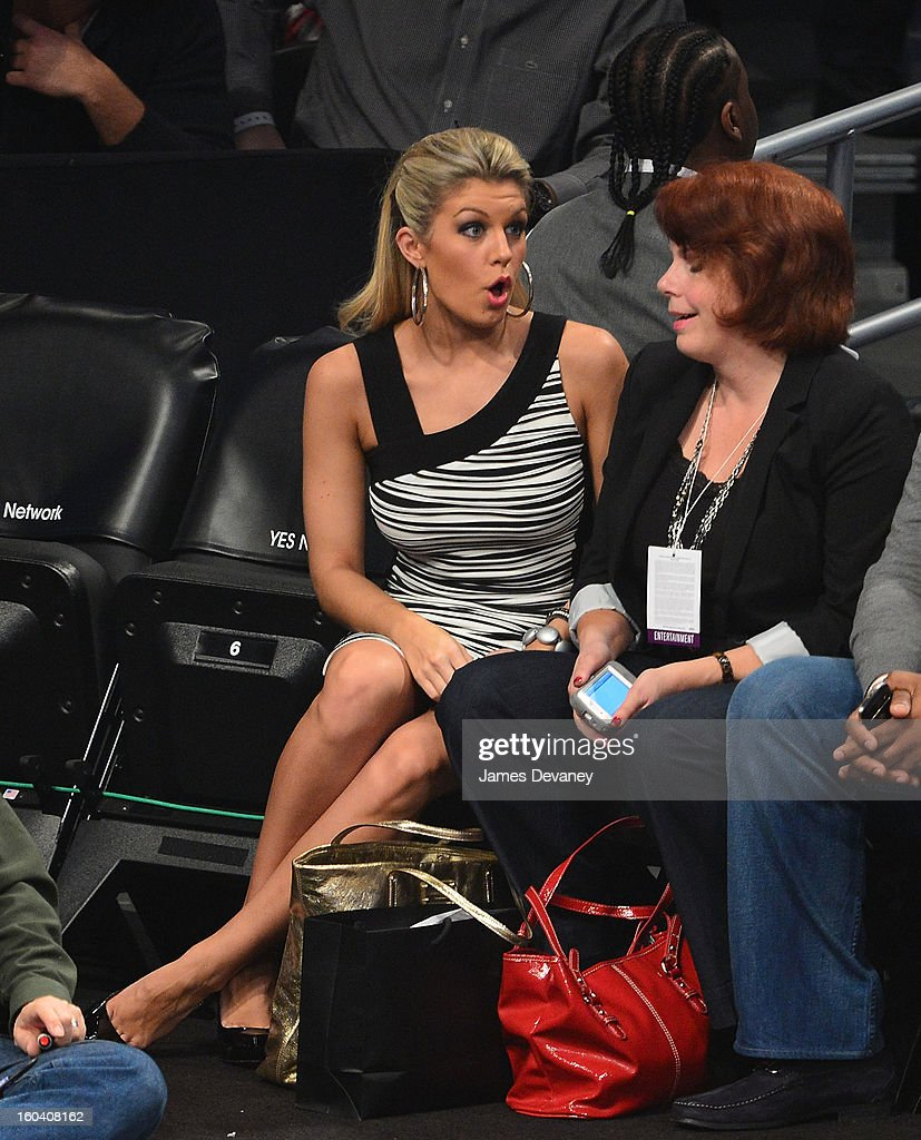 Miss America Mallory Hagan attends the Miami Heat vs Brooklyn Nets game at Barclays Center on January 30, 2013 in the Brooklyn borough of New York City.