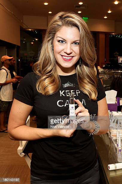 Miss America Mallory Hagan gets a glam touchup with new cosmetic Brand Reign on September 6 2013 in Atlantic City New Jersey