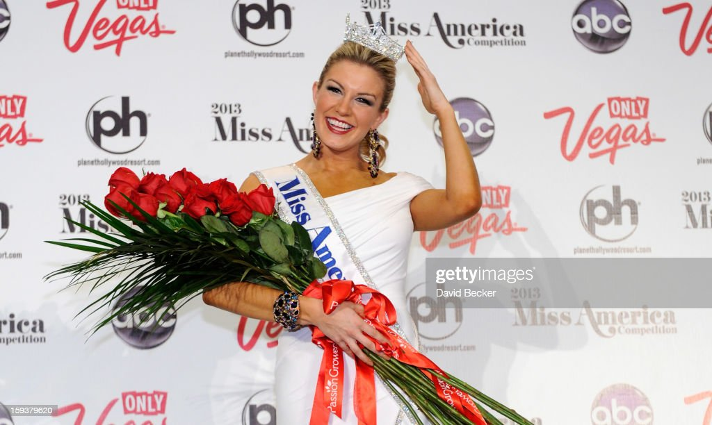 Miss America, Mallory Hytes Hagan, of New York, poses during a news conference after she was crowned during the 2013 Miss America Pageant at Planet Hollywood Resort & Casino on January 12, 2013 in Las Vegas, Nevada.
