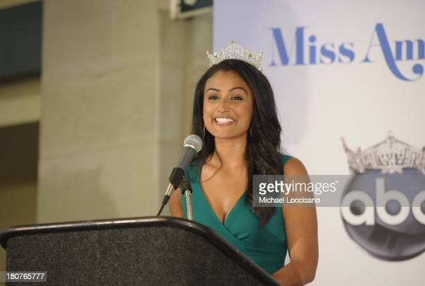 Miss America Nina Davuluri addresses media during the 2014 Miss America Competition Winner Press Conference at Boardwalk Hall Arena on September 16...
