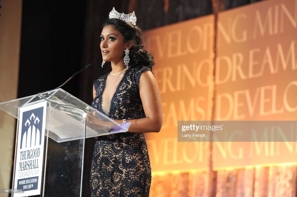 Miss America <a gi-track='captionPersonalityLinkClicked' href=/galleries/search?phrase=Nina+Davuluri&family=editorial&specificpeople=11331921 ng-click='$event.stopPropagation()'>Nina Davuluri</a> speaks at the Thurgood Marshall College Fund 25th Awards Gala on November 11, 2013 in Washington City.