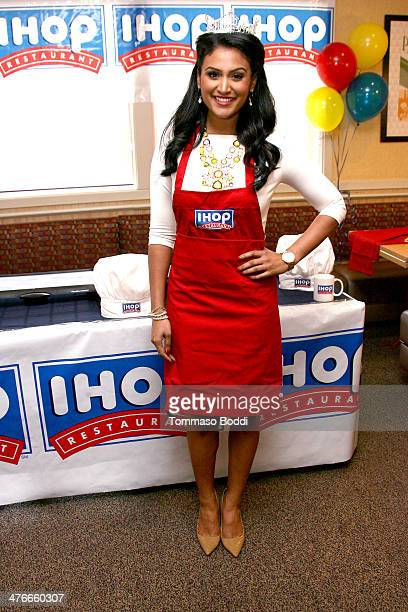 Miss America Nina Davuluri supports IHOP's National Pancake Day fundraiser in LA held at IHOP on March 4 2014 in Hollywood California