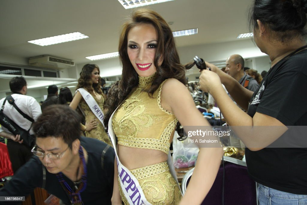 Miss Andrea Justin Aliman from the Philippines prepares backstage in the transvestite and transgender beauty pageant Miss International Queen 2013 at Tiffany's Show theatre in Pattaya city. Twenty-five contestants from 17 countries are participating in the event, which is endowed with prize money of 300,000 Thai baht (10,000 US dollars), a crown with real gems and a free surgery at a plastic surgery clinic in Bangkok..