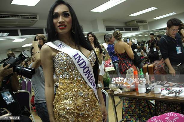 Miss Angeline Hanum from Indonesia backstage in the transvestite and transgender beauty pageant Miss International Queen 2013 at Tiffany's Show...