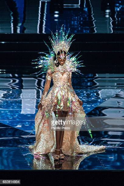 Miss Angola shows off her national costume at the Arena in Pasay City Candidates from different countries showed off their national costumes during...