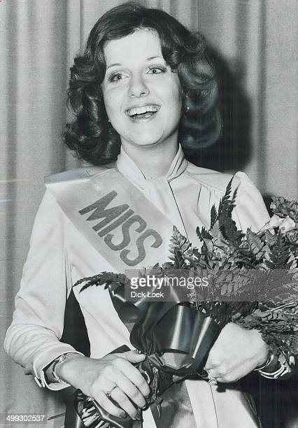 Miss Argo 1974 Madeline Smith 21 smiles with delight after being chosen Miss Argonaut at Skyline Hotel yesterday