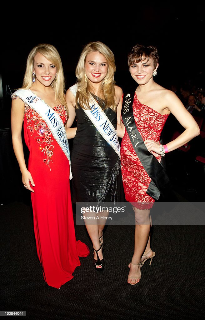Miss Arkansas Sloan Roberts, Miss New Jersey Lindsey Petrosh and Miss Alaska Debbe Ebbon attend the Miss America 2013 Homecoming Gala at The Fashion Institute of Technology on March 16, 2013 in New York City.