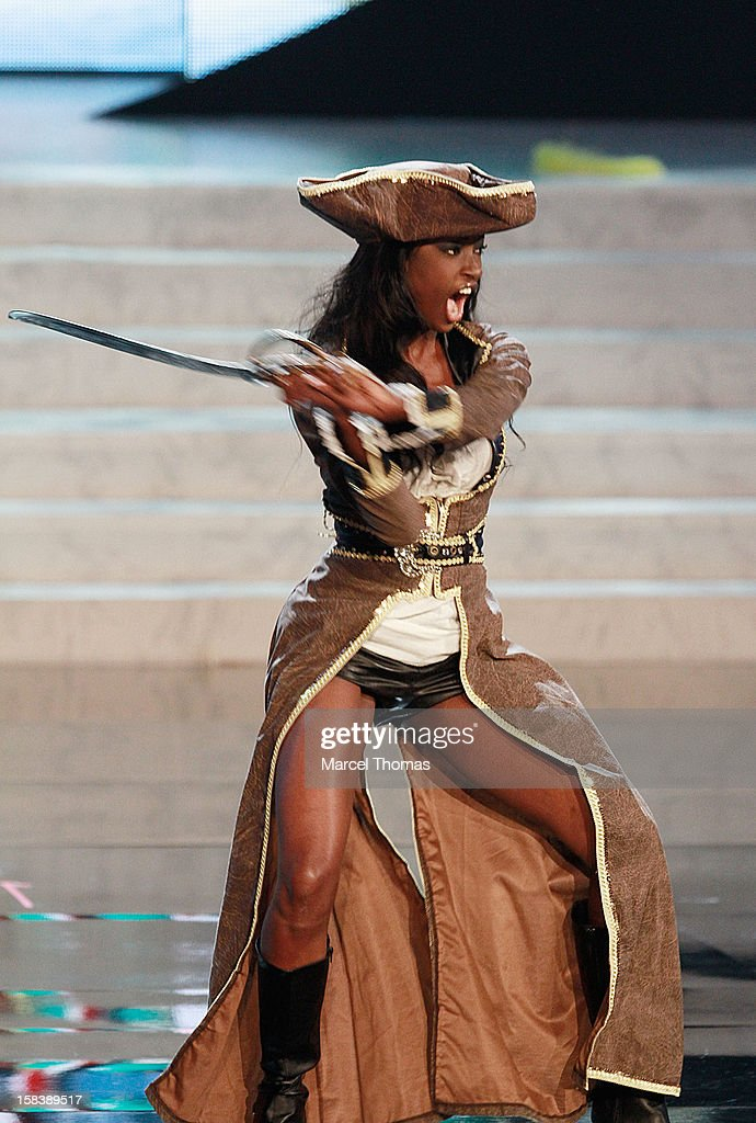 Miss Bahamas Celeste Marshall displays her national costume at the 2012 Miss Universe National Costume event at Planet Hollywood Casino Resort on December 14, 2012 in Las Vegas, Nevada.