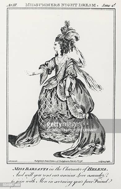 Miss Barsanti in the role of Helen Act III Scene II of the play A Midsummer Night's Dream by William Shakespeare engraving from Bell's Edition of...