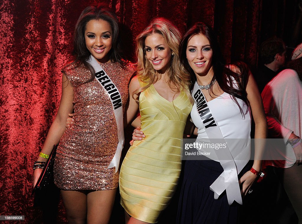 Miss Belgium 2012 Laura Beyne, Miss Netherlands 2012 Nathalie Den Dekker and Miss Germany 2012 Alicia Endemann appear at The Act at The Palazzo on December 19, 2012 in Las Vegas, Nevada.