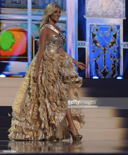Miss Belgium Noemie Happart competes in the 2013 Miss Universe preliminary competition in Moscow on November 5 2013 Miss Universe 2013 will be...