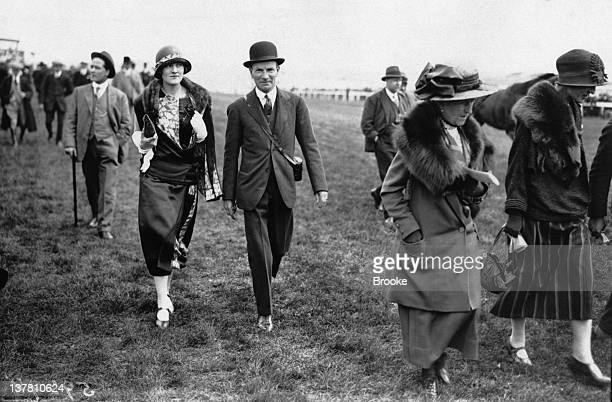 Miss Bersey and Colonel Mardon attend the last day of the Epsom Derby in Surrey 1924