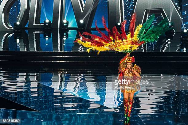 Miss Bolivia shows off her national costume at the Arena in Pasay City Candidates from different countries showed off their national costumes during...