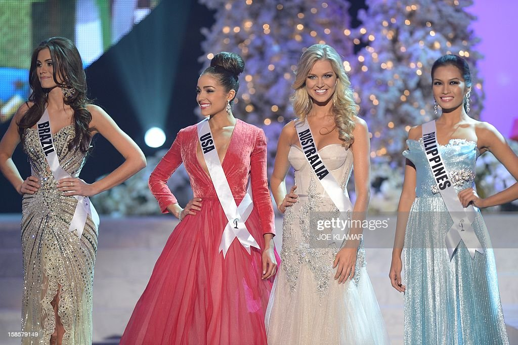 Miss Brazil, Gabriela Markus (L); Miss USA, Olivia Culpo (2nd-L); Miss Australia, Renae Ayris (2nd-R); and Miss Philippines, Janine Tugonon (R) stand on stage during the 2012 Miss Universe Pageant at Planet Hollywood in Las Vegas, Nevada on December 19, 2012. Miss USA, Olivia Culpo was crowned Miss Universe 2012, beating out beauties from around the world to claim the coveted title. The title of first runner-up title went to the contestant from the Philippines, Janine Tugonon.