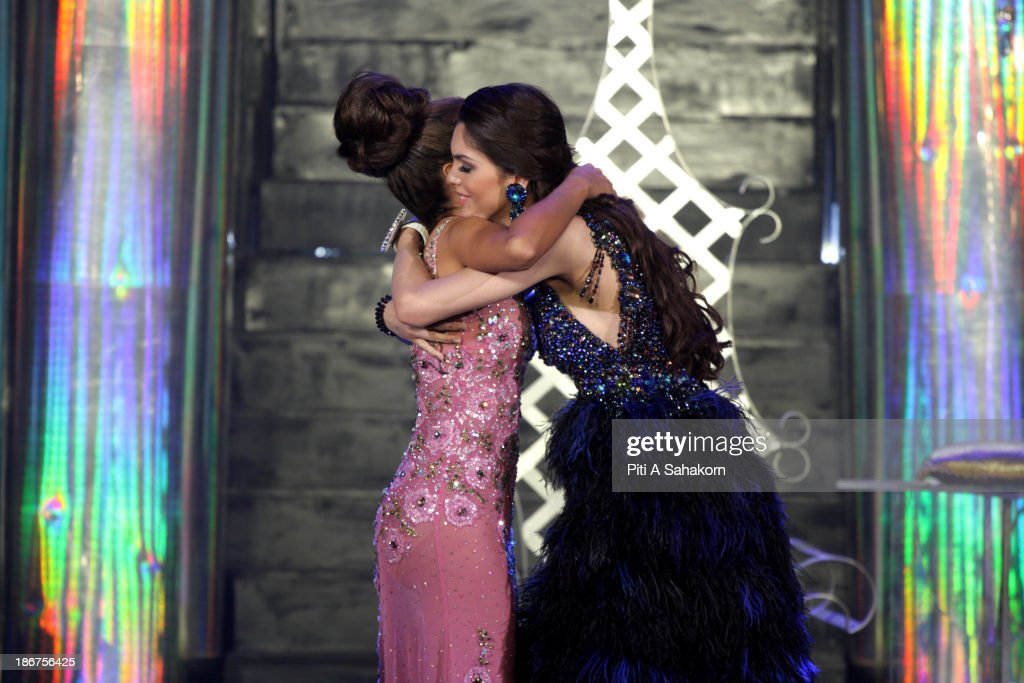 Miss Brazil, Marcelo Ohio , winner of the Miss International Queen 2013 transgender beauty pageant, hugs with runner up Miss USA, Shantell D'Marco. Twenty-five contestants from 17 countries are participating in the event, which is endowed with prize money of 300,000 Thai baht (10,000 US dollars), a crown with real gems and a free surgery at a plastic surgery clinic in Bangkok..