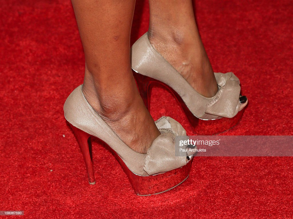 Miss California Cierra Jackson (Shoe Detail) attends the 'Under The Mistletoe' charity event benefiting the Toys For Tots Foundation at the Lexington Social House on December 14, 2012 in Hollywood, California.