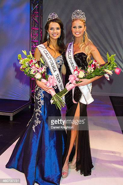 Miss California Teen USA 2014 Bianca Vierra and Miss California USA Cassandra Kunze are crowned at Terrace Theater on January 4 2014 in Long Beach...