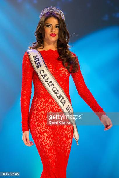 Miss California USA 2013 Mabelynn Capeluj appears appears onstage at the Miss California USA 2014 Pageant at Terrace Theater on January 4 2014 in...