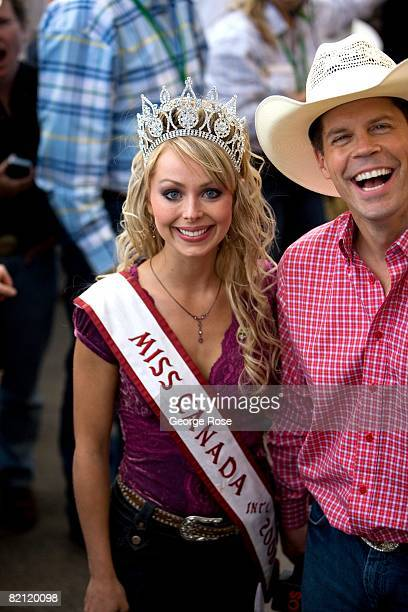 Miss Canada International Alesia Fieldberg and Stampede announcer Dave Kelly are seen in this 2008 Calgary Canada summer festival photo The annual...