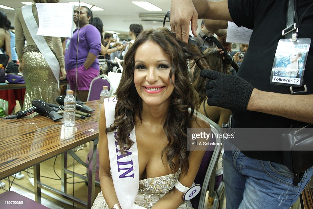 Miss Carolina Medina from Spain prepares backstage in the transvestite and transgender beauty pageant Miss International Queen 2013 at Tiffany's Show theatre in Pattaya city. Twenty-five contestants from 17 countries are participating in the event, which is endowed with prize money of 300,000 Thai baht (10,000 US dollars), a crown with real gems and a free surgery at a plastic surgery clinic in Bangkok..