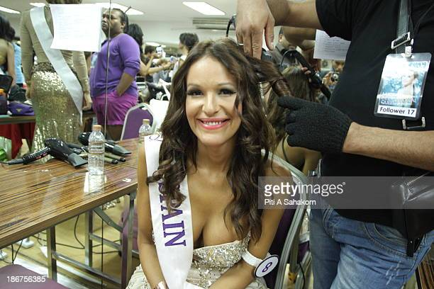 Miss Carolina Medina from Spain prepares backstage in the transvestite and transgender beauty pageant Miss International Queen 2013 at Tiffany's Show...
