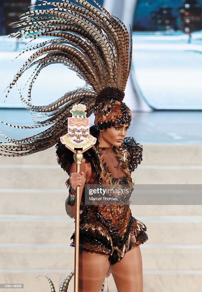 Miss Cayman Islands Lindsay Japal displays her national costume at the 2012 Miss Universe National Costume event at Planet Hollywood Casino Resort on December 14, 2012 in Las Vegas, Nevada.