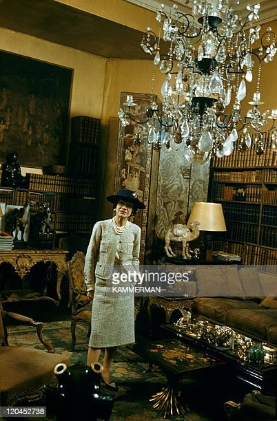 Miss Chanel in Paris France in 1954 Coco Chanel's appartment Cambon street in Paris