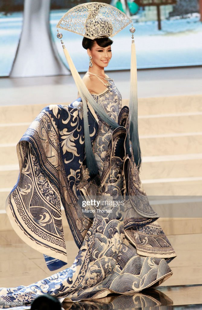 Miss China Ji Dan Xu displays her national costume at the 2012 Miss Universe National Costume event at Planet Hollywood Casino Resort on December 14, 2012 in Las Vegas, Nevada.