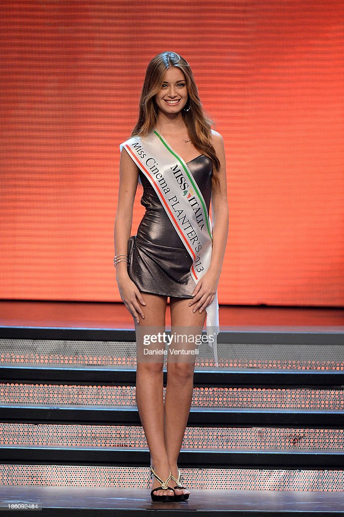 Miss Cinema Planters Giulia Arena attends the 2013 Miss Italia beauty pageant at the Pala Arrex on October 27, 2013 in Jesolo, Italy.
