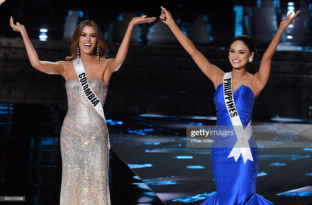 Miss Colombia 2015, Ariadna Gutierrez Arevalo (L), and Miss Philippines 2015, Pia Alonzo Wurtzbach, react after being named two of the top three finalists during the 2015 Miss Universe Pageant at The Axis at Planet Hollywood Resort & Casino on December 20, 2015 in Las Vegas, Nevada. Wurtzbach went on to be be named the new Miss Universe and Gutierrez Arevalo the first runner-up.
