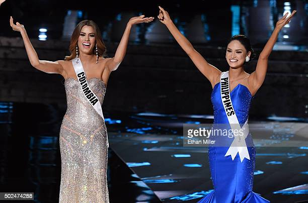 Miss Colombia 2015 Ariadna Gutierrez Arevalo and Miss Philippines 2015 Pia Alonzo Wurtzbach react after being named two of the top three finalists...