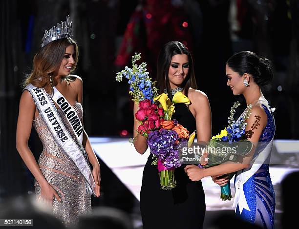 Miss Colombia 2015 Ariadna Gutierrez Arevalo looks on as Miss Universe 2014 Paulina Vega crowns Miss Phillipines 2015 Pia Alonzo Wurtzbach the 2015...