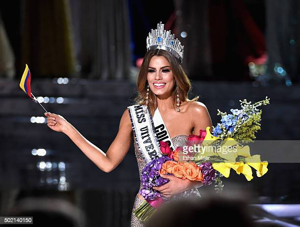 Miss Colombia 2015 Ariadna Gutierrez Arevalo reacts after being crowned the new Miss Universe when host Steve Harvey mistakenly named her the winner...