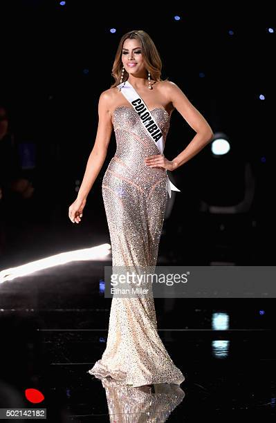 Miss Colombia 2015 Ariadna Gutierrezh walks onstage during the 2015 Miss Universe Pageant at The Axis at Planet Hollywood Resort Casino on December...