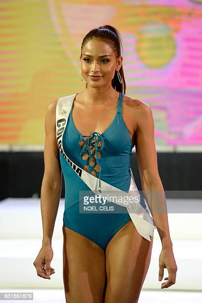 Miss Colombia Andrea Tovar participates in a swimwear fashion show in Cebu City central Philippines on January 17 2017 The Miss Universe pageant will...