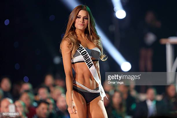 Miss Colombia Ariadna Gutierrez competes in the swimsuit competition during the preliminary round of Miss Universe 2015 at The Axis Planet Hollywood...
