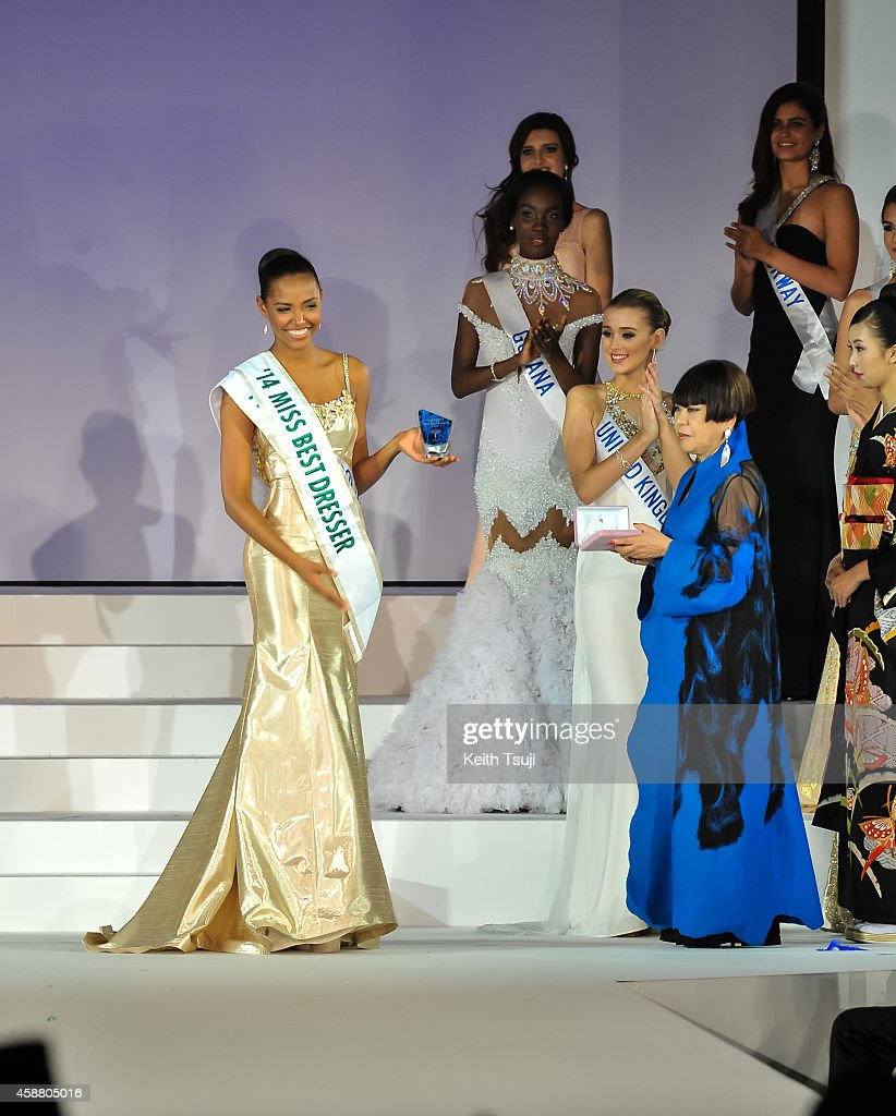 Miss Columbia Zuleika Suarez poses after winning Miss Best Dresser during The 54th Miss International Beauty Pageant 2014 at Grand Prince Hotel New Takanawa on November 11, 2014 in Tokyo, Japan.