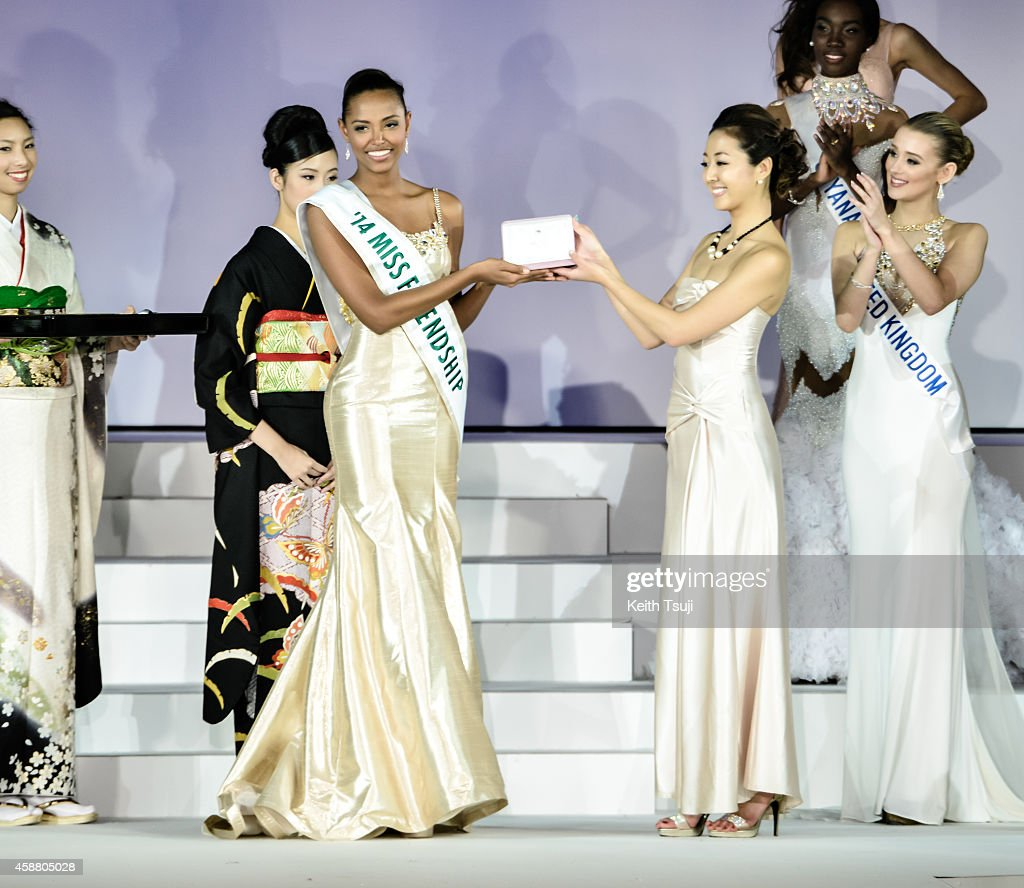 Miss Columbia Zuleika Suarez poses after winning Miss Friendship during The 54th Miss International Beauty Pageant 2014 at Grand Prince Hotel New Takanawa on November 11, 2014 in Tokyo, Japan.