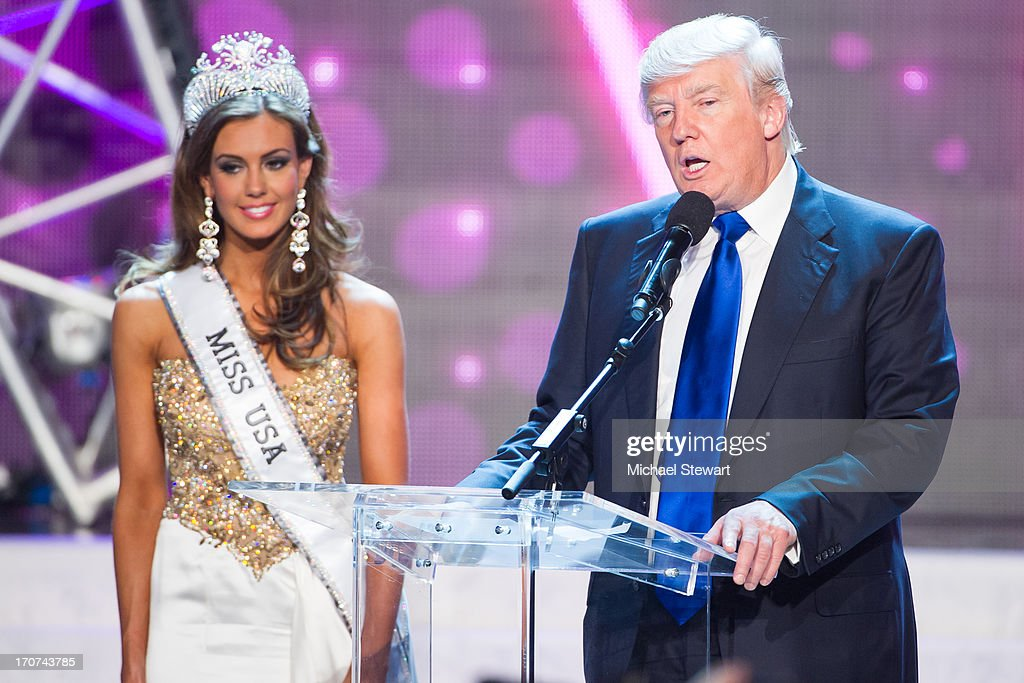 Miss Connecticut USA Erin Brady (L) and <a gi-track='captionPersonalityLinkClicked' href=/galleries/search?phrase=Donald+Trump+-+Born+1946&family=editorial&specificpeople=118600 ng-click='$event.stopPropagation()'>Donald Trump</a> onstage after winning the 2013 Miss USA pageant at PH Live at Planet Hollywood Resort & Casino on June 16, 2013 in Las Vegas, Nevada.